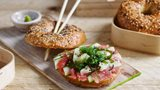 BAGEL EVERYTHING with fresh tuna carpaccio